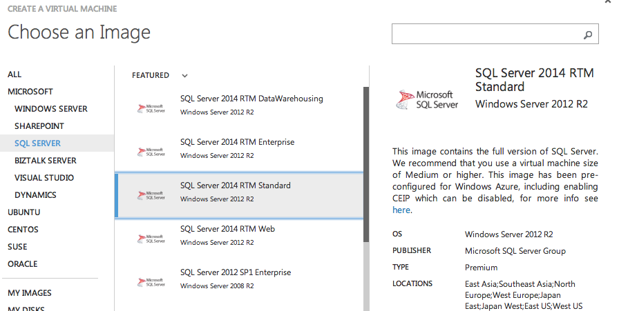 SQL Server 2014 RTM images on Windows Azure
