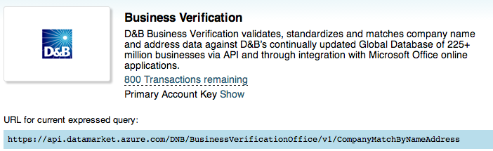 D&B Business Verification Service