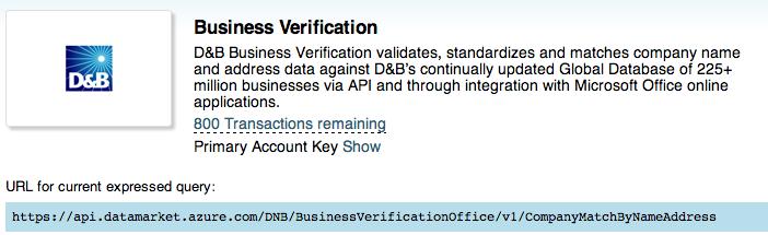 D&B Business Verification Service