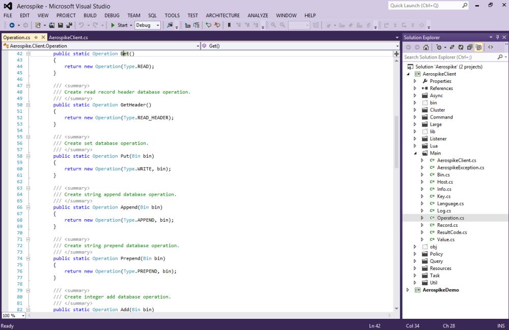 Aerospike in Visual Studio